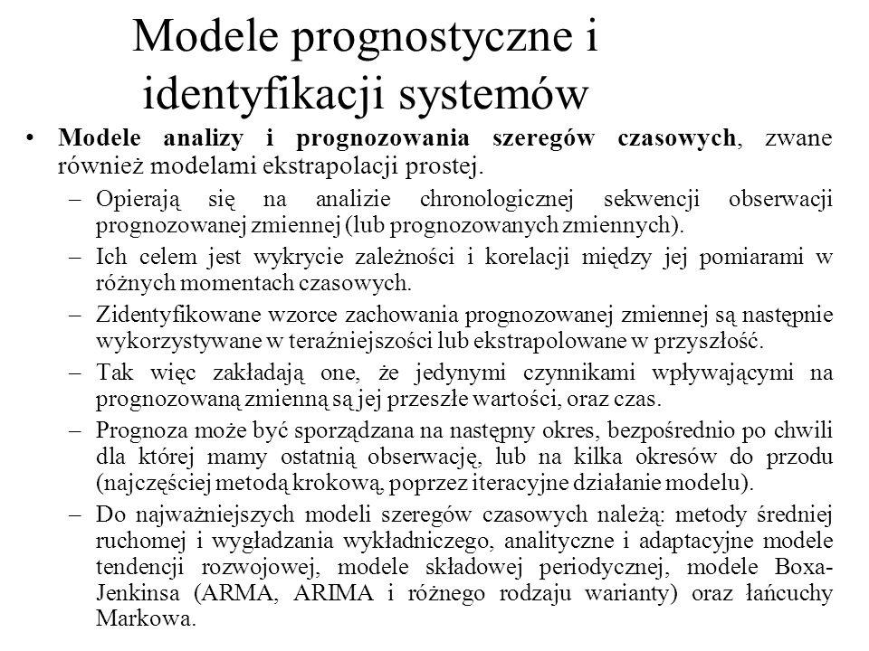 Modele analizy i prognozowania szeregów czasowych, zwane również modelami ekstrapolacji prostej. –Opierają się na analizie chronologicznej sekwencji o