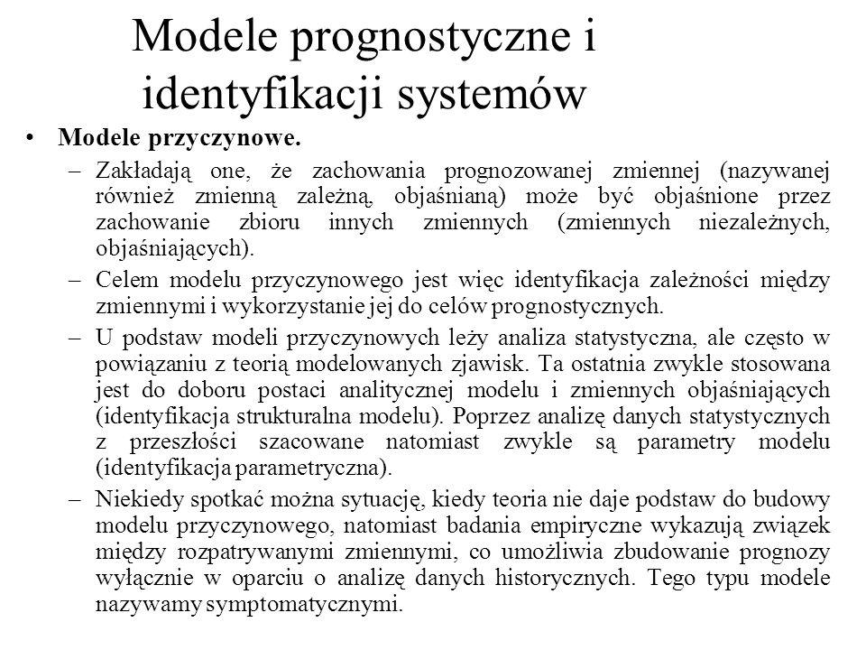 Modele przyczynowe. –Zakładają one, że zachowania prognozowanej zmiennej (nazywanej również zmienną zależną, objaśnianą) może być objaśnione przez zac