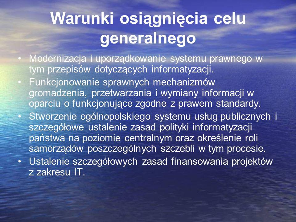 Warunki osiągnięcia celu generalnego Modernizacja i uporządkowanie systemu prawnego w tym przepisów dotyczących informatyzacji. Funkcjonowanie sprawny