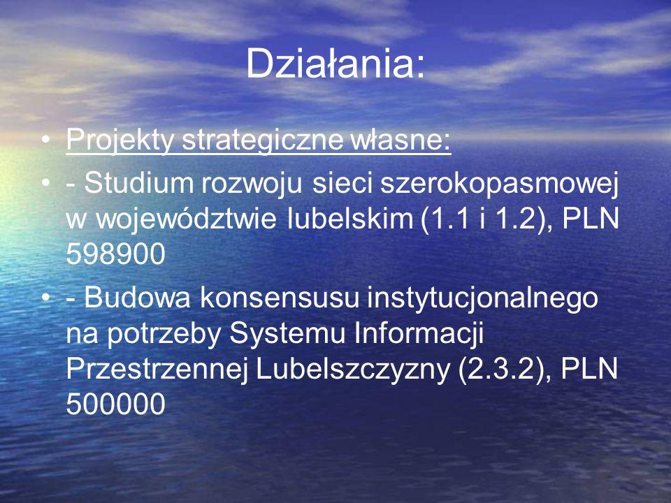 Działania: Projekty strategiczne własne: - Studium rozwoju sieci szerokopasmowej w województwie lubelskim (1.1 i 1.2), PLN 598900 - Budowa konsensusu