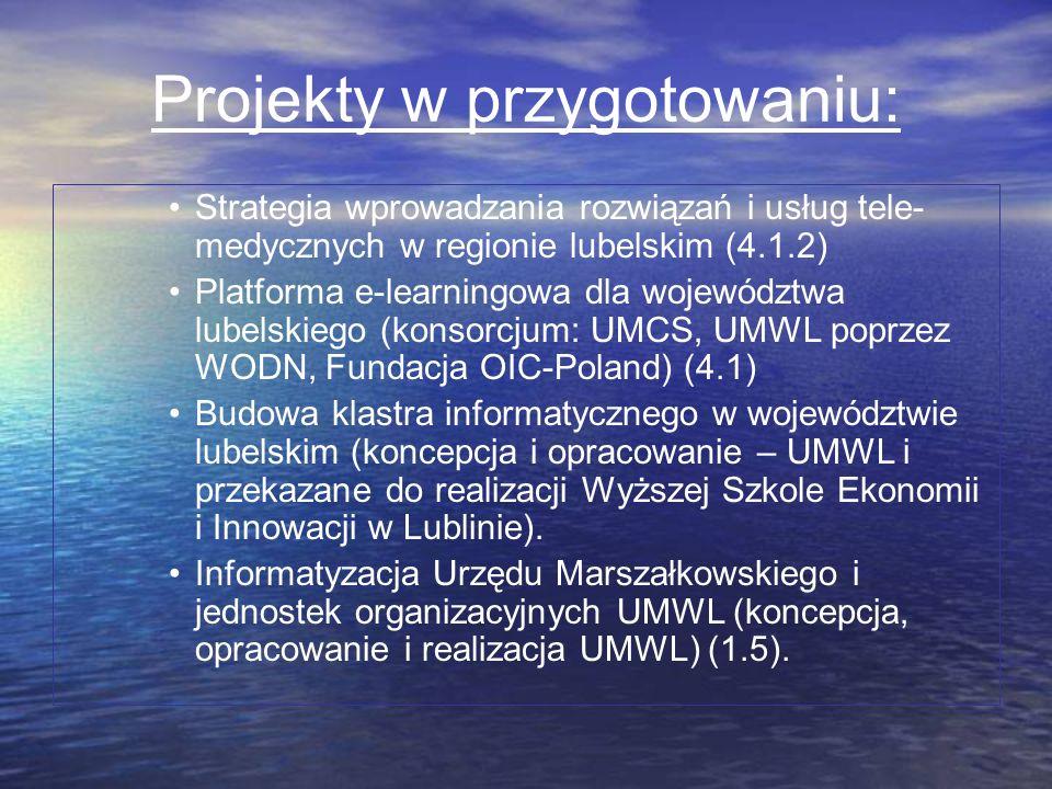 Projekty w przygotowaniu: Strategia wprowadzania rozwiązań i usług tele- medycznych w regionie lubelskim (4.1.2) Platforma e-learningowa dla województ