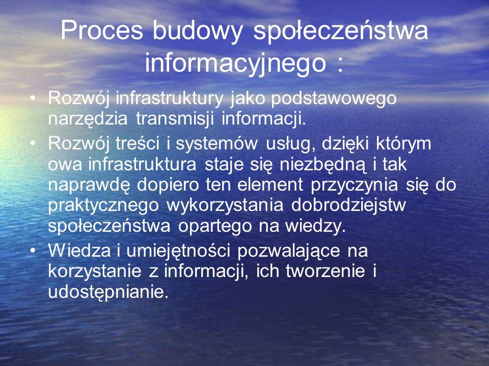 Proces budowy społeczeństwa informacyjnego : Rozwój infrastruktury jako podstawowego narzędzia transmisji informacji. Rozwój treści i systemów usług,