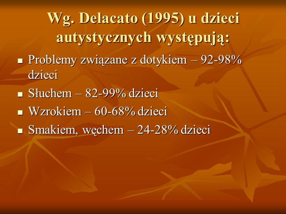 Wg. Delacato (1995) u dzieci autystycznych występują: Problemy związane z dotykiem – 92-98% dzieci Problemy związane z dotykiem – 92-98% dzieci Słuche