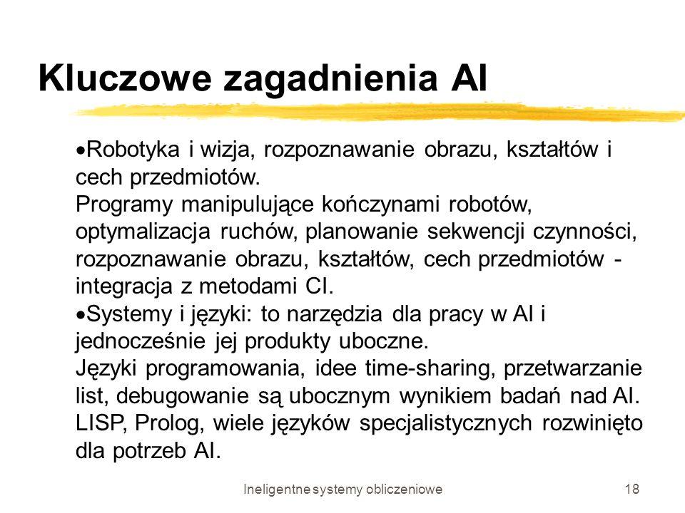 Ineligentne systemy obliczeniowe18 Kluczowe zagadnienia AI Robotyka i wizja, rozpoznawanie obrazu, kształtów i cech przedmiotów. Programy manipulujące