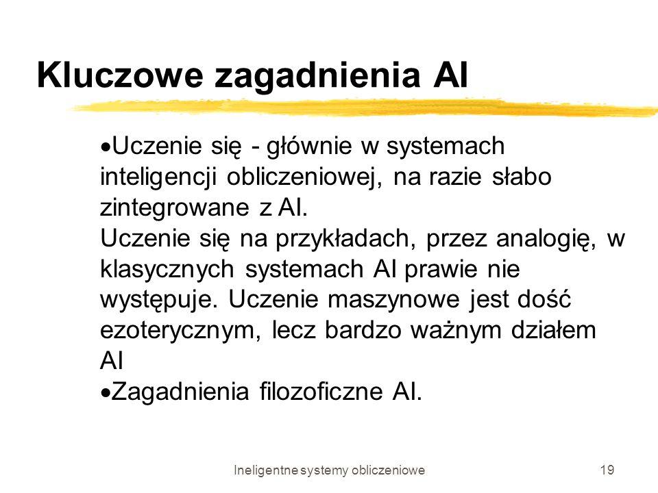 Ineligentne systemy obliczeniowe19 Kluczowe zagadnienia AI Uczenie się - głównie w systemach inteligencji obliczeniowej, na razie słabo zintegrowane z