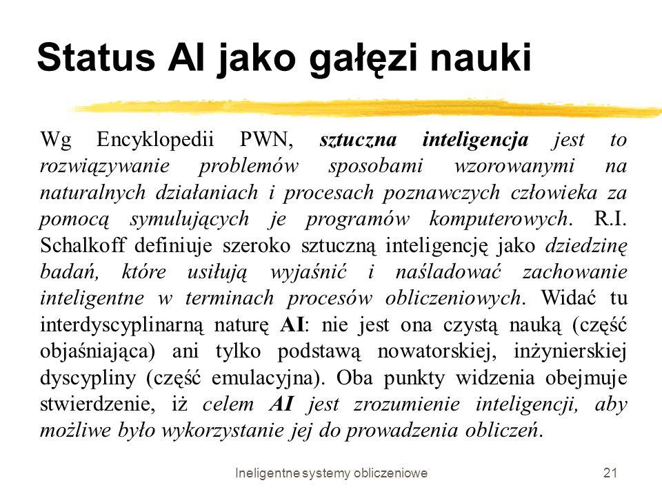 Ineligentne systemy obliczeniowe21 Status AI jako gałęzi nauki Wg Encyklopedii PWN, sztuczna inteligencja jest to rozwiązywanie problemów sposobami wz