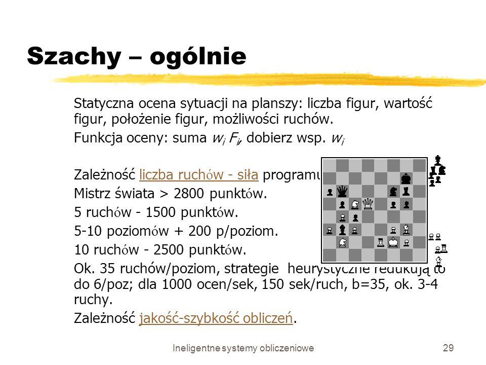 Ineligentne systemy obliczeniowe29 Szachy – ogólnie Statyczna ocena sytuacji na planszy: liczba figur, wartość figur, położenie figur, możliwości ruch