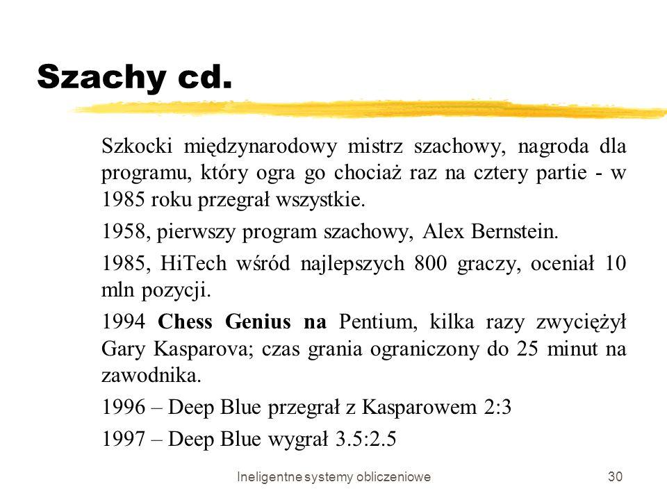 Ineligentne systemy obliczeniowe30 Szachy cd. Szkocki międzynarodowy mistrz szachowy, nagroda dla programu, który ogra go chociaż raz na cztery partie