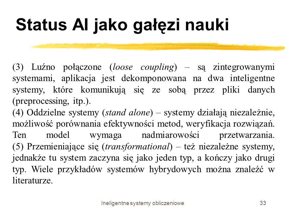 Ineligentne systemy obliczeniowe33 Status AI jako gałęzi nauki (3) Luźno połączone (loose coupling) – są zintegrowanymi systemami, aplikacja jest deko