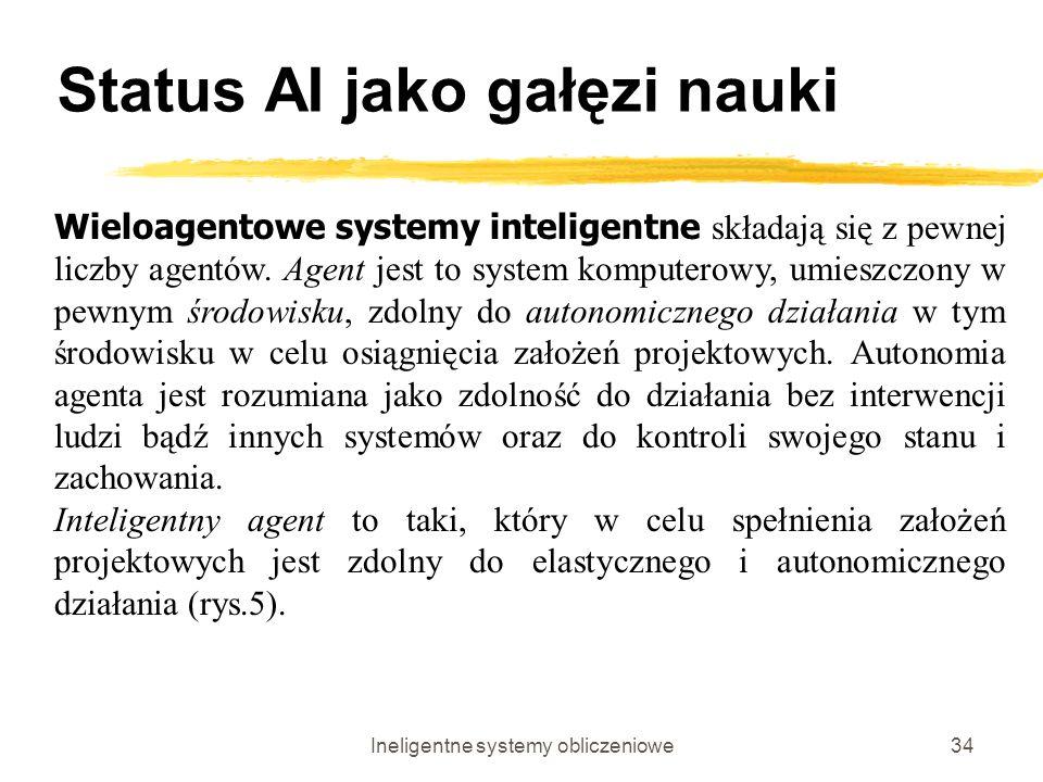 Ineligentne systemy obliczeniowe34 Status AI jako gałęzi nauki Wieloagentowe systemy inteligentne składają się z pewnej liczby agentów. Agent jest to