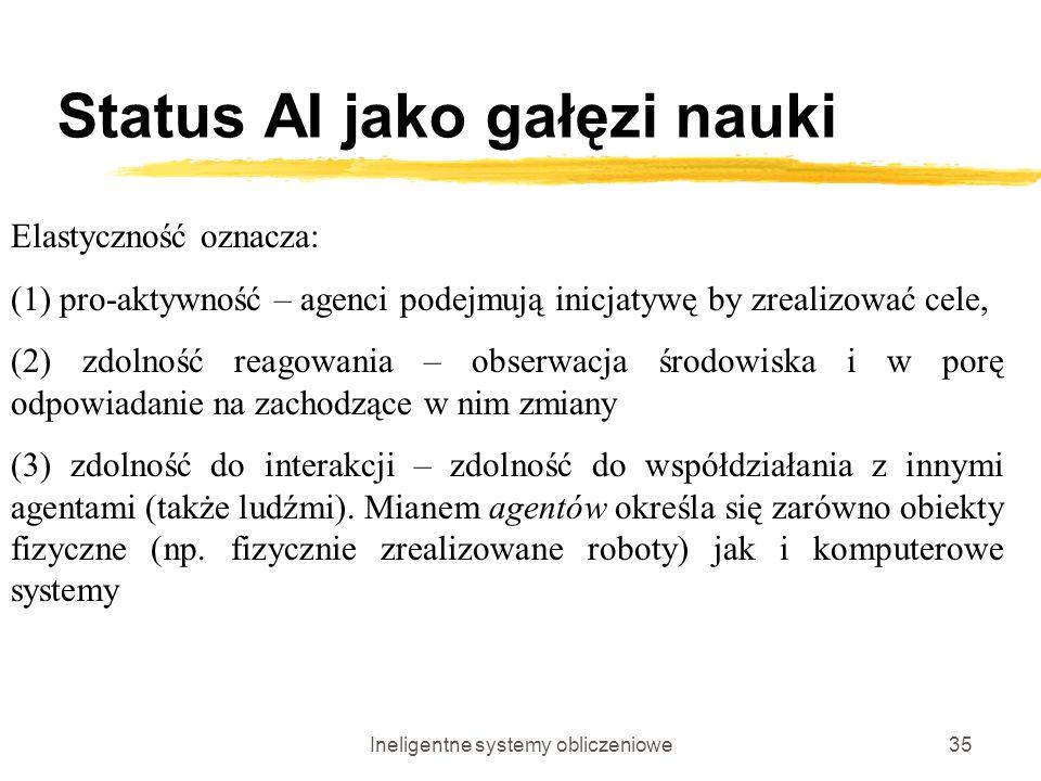 Ineligentne systemy obliczeniowe35 Status AI jako gałęzi nauki Elastyczność oznacza: (1) pro-aktywność – agenci podejmują inicjatywę by zrealizować ce
