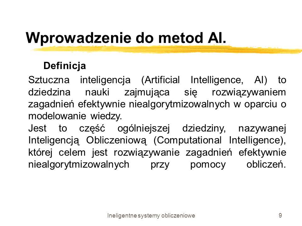 Ineligentne systemy obliczeniowe9 Wprowadzenie do metod AI. Definicja Sztuczna inteligencja (Artificial Intelligence, AI) to dziedzina nauki zajmująca