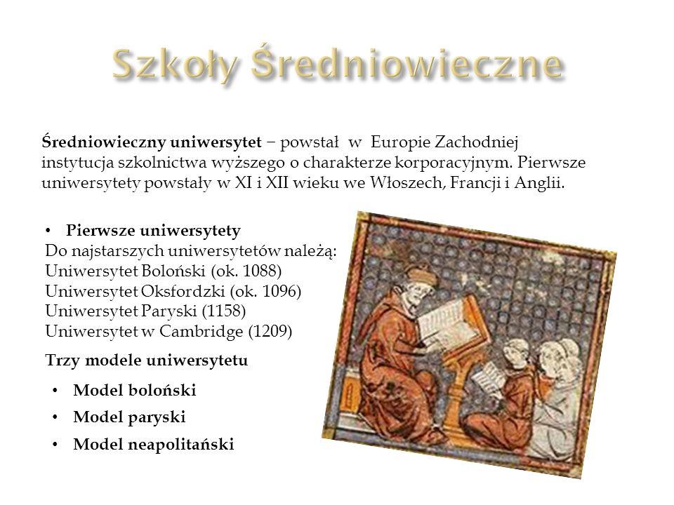 Średniowieczny uniwersytet powstał w Europie Zachodniej instytucja szkolnictwa wyższego o charakterze korporacyjnym. Pierwsze uniwersytety powstały w