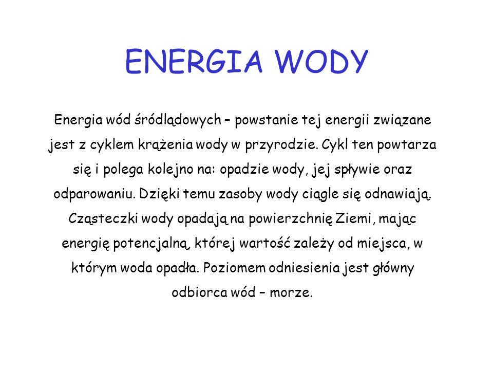 ENERGIA WODY Energia wód śródlądowych – powstanie tej energii związane jest z cyklem krążenia wody w przyrodzie. Cykl ten powtarza się i polega kolejn