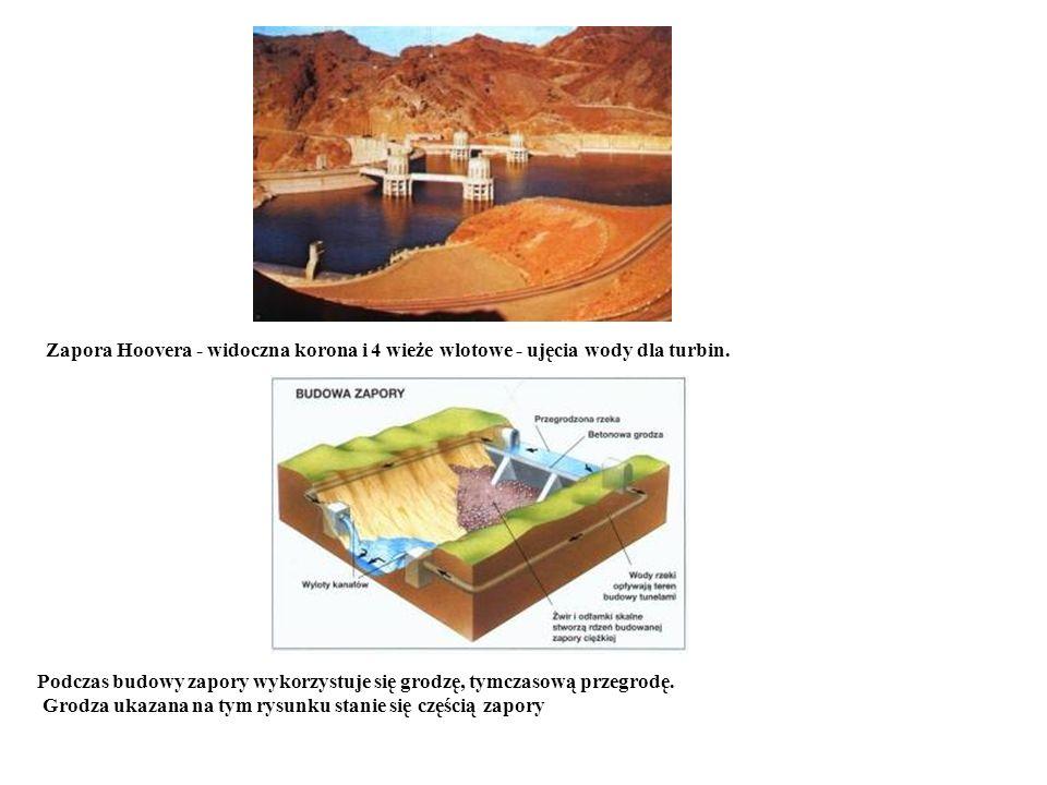 Zapora Hoovera - widoczna korona i 4 wieże wlotowe - ujęcia wody dla turbin. Podczas budowy zapory wykorzystuje się grodzę, tymczasową przegrodę. Grod