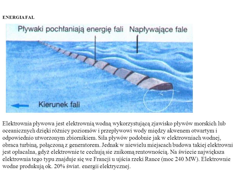 ENERGIA FAL Elektrownia pływowa jest elektrownią wodną wykorzystującą zjawisko pływów morskich lub oceanicznych dzięki różnicy poziomów i przepływowi