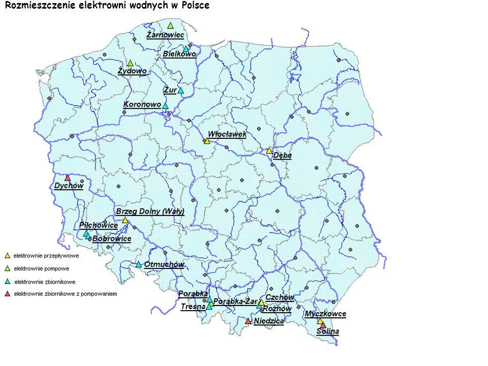 Rozmieszczenie elektrowni wodnych w Polsce