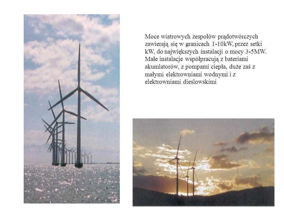 Moce wiatrowych zespołów prądotwórczych zawierają się w granicach 1-10kW, przez setki kW, do największych instalacji o mocy 3-5MW. Małe instalacje wsp