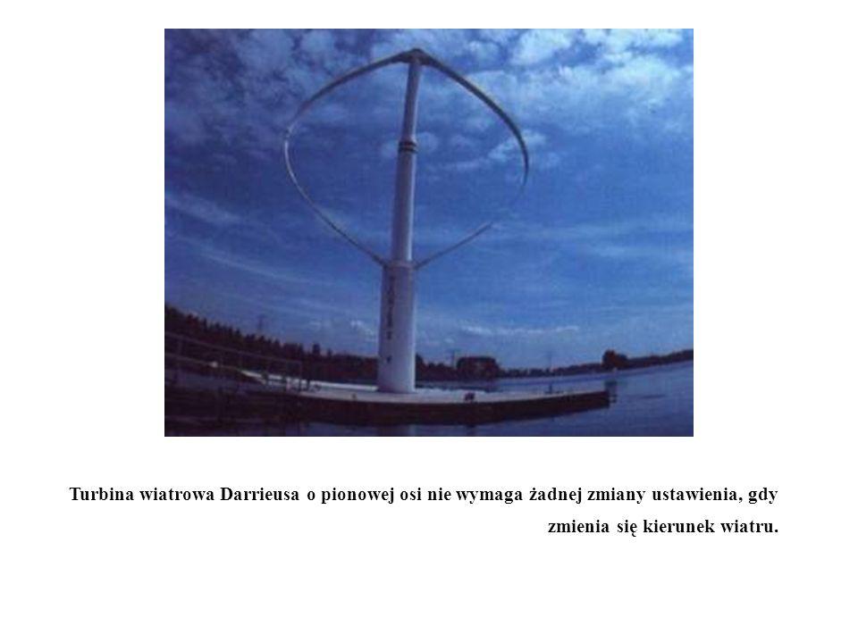 Turbina wiatrowa Darrieusa o pionowej osi nie wymaga żadnej zmiany ustawienia, gdy zmienia się kierunek wiatru.