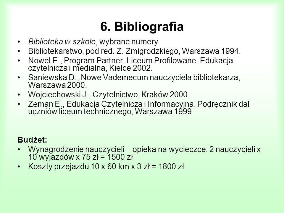 6. Bibliografia Biblioteka w szkole, wybrane numery Bibliotekarstwo, pod red. Z. Żmigrodzkiego, Warszawa 1994. Nowel E., Program Partner. Liceum Profi