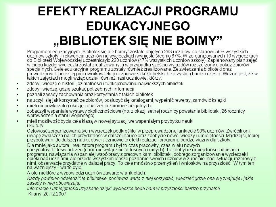 EFEKTY REALIZACJI PROGRAMU EDUKACYJNEGO BIBLIOTEK SIĘ NIE BOIMY Programem edukacyjnym Bibliotek się nie boimy zostało objętych 263 uczniów, co stanowi