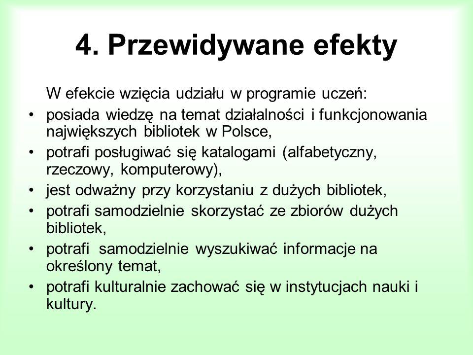 4. Przewidywane efekty W efekcie wzięcia udziału w programie uczeń: posiada wiedzę na temat działalności i funkcjonowania największych bibliotek w Pol