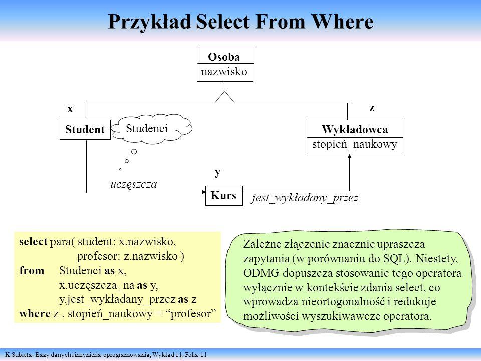 K.Subieta. Bazy danych i inżynieria oprogramowania, Wykład 11, Folia 11 Przykład Select From Where select para( student: x.nazwisko, profesor: z.nazwi