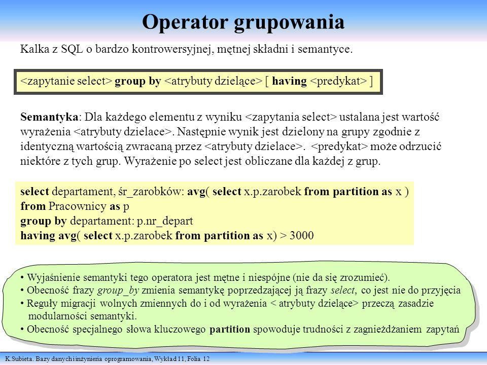K.Subieta. Bazy danych i inżynieria oprogramowania, Wykład 11, Folia 12 Operator grupowania Kalka z SQL o bardzo kontrowersyjnej, mętnej składni i sem