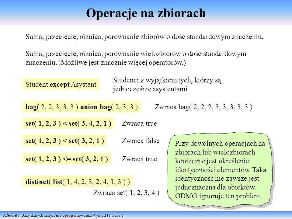 K.Subieta. Bazy danych i inżynieria oprogramowania, Wykład 11, Folia 14 Operacje na zbiorach Suma, przecięcie, różnica, porównanie zbiorów o dość stan
