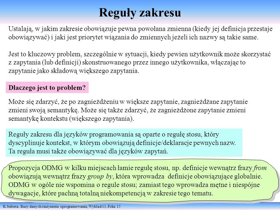 K.Subieta. Bazy danych i inżynieria oprogramowania, Wykład 11, Folia 15 Reguły zakresu Ustalają, w jakim zakresie obowiązuje pewna powołana zmienna (k