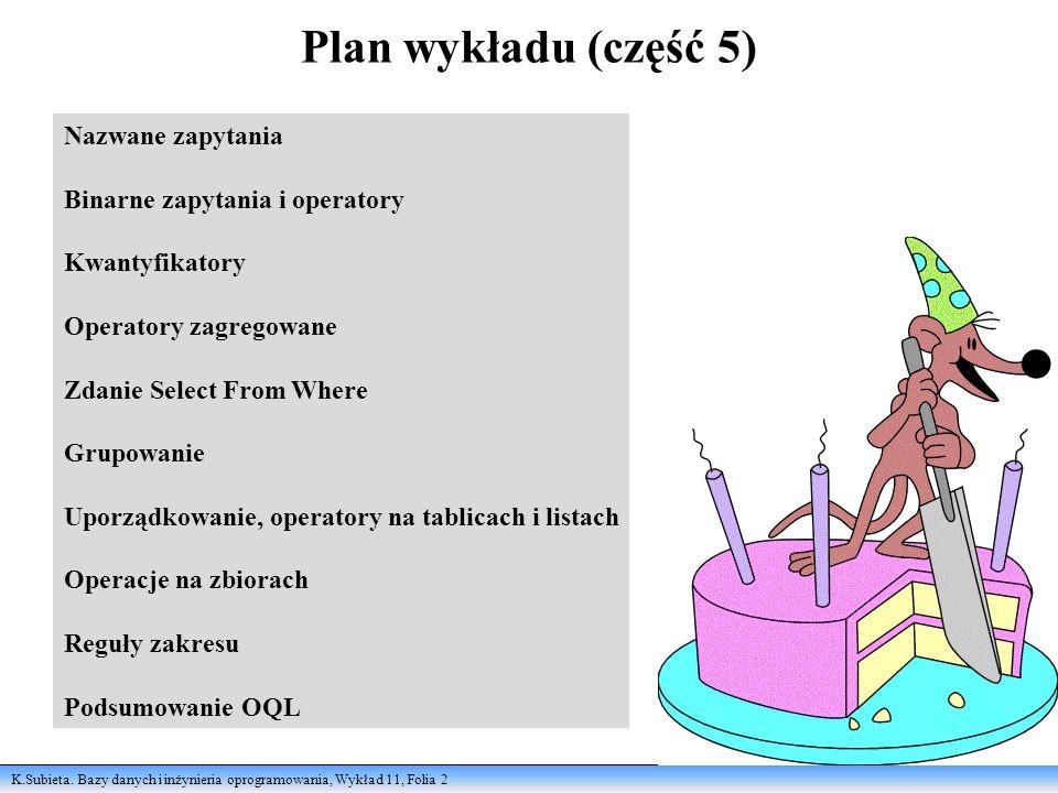 K.Subieta. Bazy danych i inżynieria oprogramowania, Wykład 11, Folia 2 Plan wykładu (część 5) Nazwane zapytania Binarne zapytania i operatory Kwantyfi