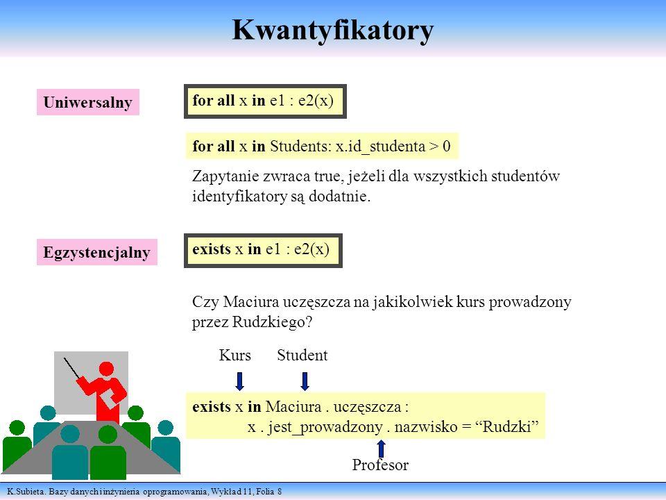 K.Subieta. Bazy danych i inżynieria oprogramowania, Wykład 11, Folia 8 Kwantyfikatory Uniwersalny Egzystencjalny for all x in e1 : e2(x) for all x in