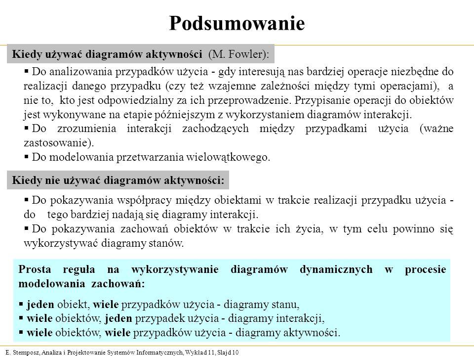 E. Stemposz, Analiza i Projektowanie Systemów Informatycznych, Wykład 11, Slajd 10 Podsumowanie Kiedy używać diagramów aktywności (M. Fowler): Do anal