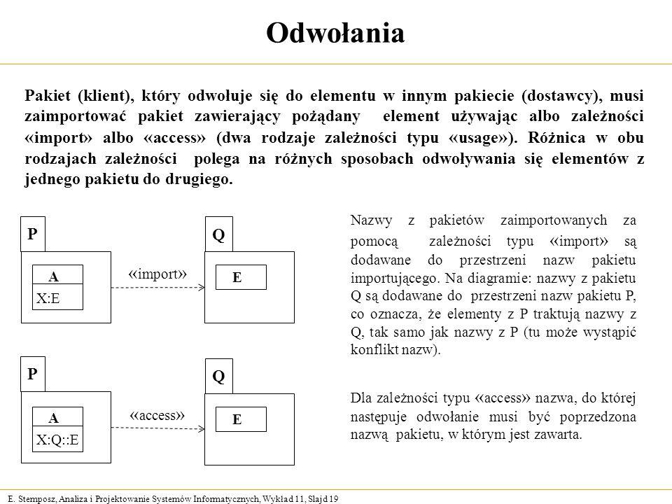 E. Stemposz, Analiza i Projektowanie Systemów Informatycznych, Wykład 11, Slajd 19 Odwołania Pakiet (klient), który odwołuje się do elementu w innym p