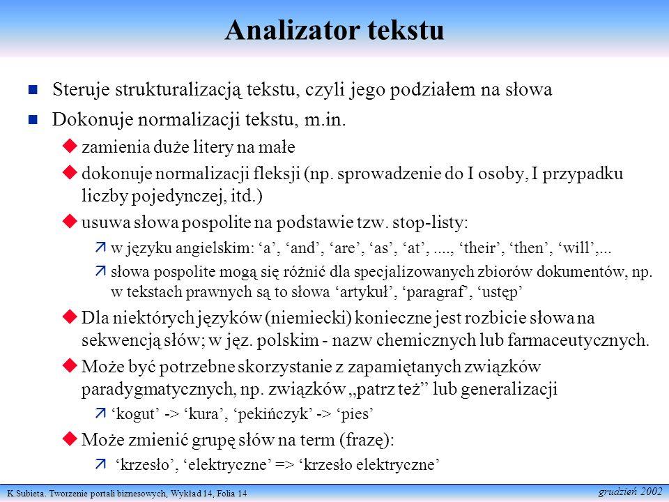K.Subieta. Tworzenie portali biznesowych, Wykład 14, Folia 14 grudzień 2002 Analizator tekstu Steruje strukturalizacją tekstu, czyli jego podziałem na