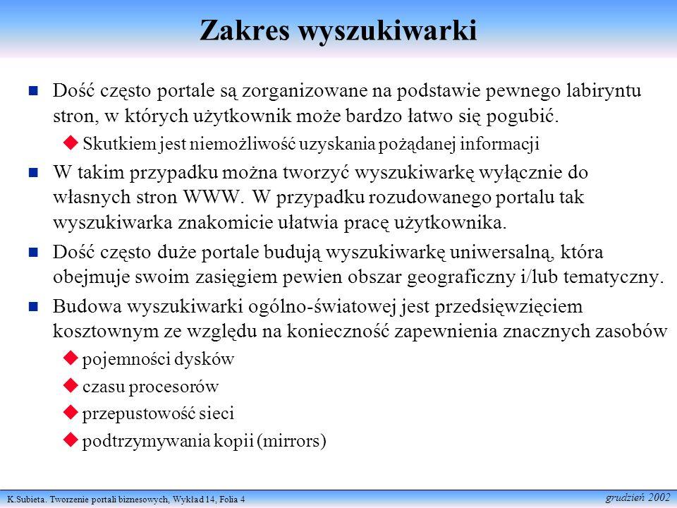 K.Subieta. Tworzenie portali biznesowych, Wykład 14, Folia 4 grudzień 2002 Zakres wyszukiwarki Dość często portale są zorganizowane na podstawie pewne