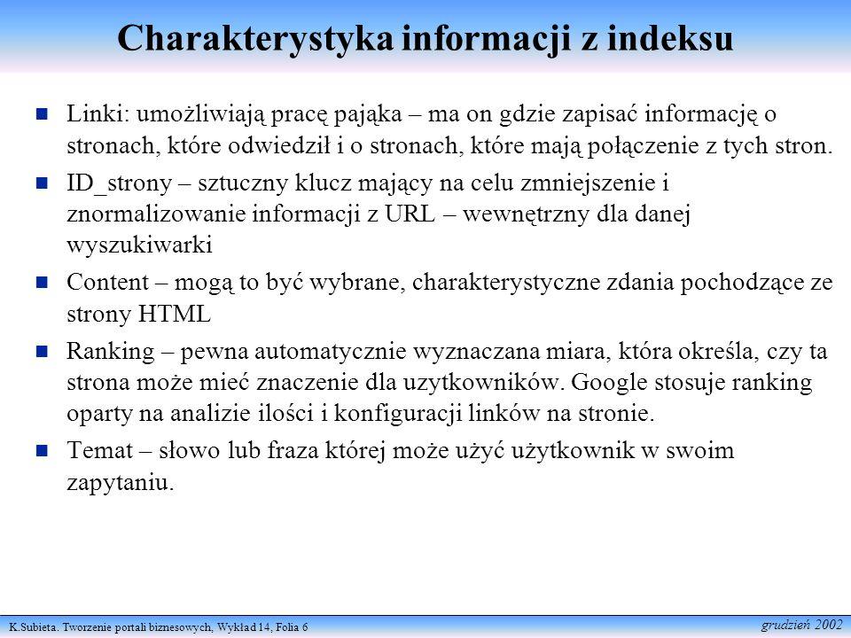 K.Subieta. Tworzenie portali biznesowych, Wykład 14, Folia 6 grudzień 2002 Charakterystyka informacji z indeksu Linki: umożliwiają pracę pająka – ma o