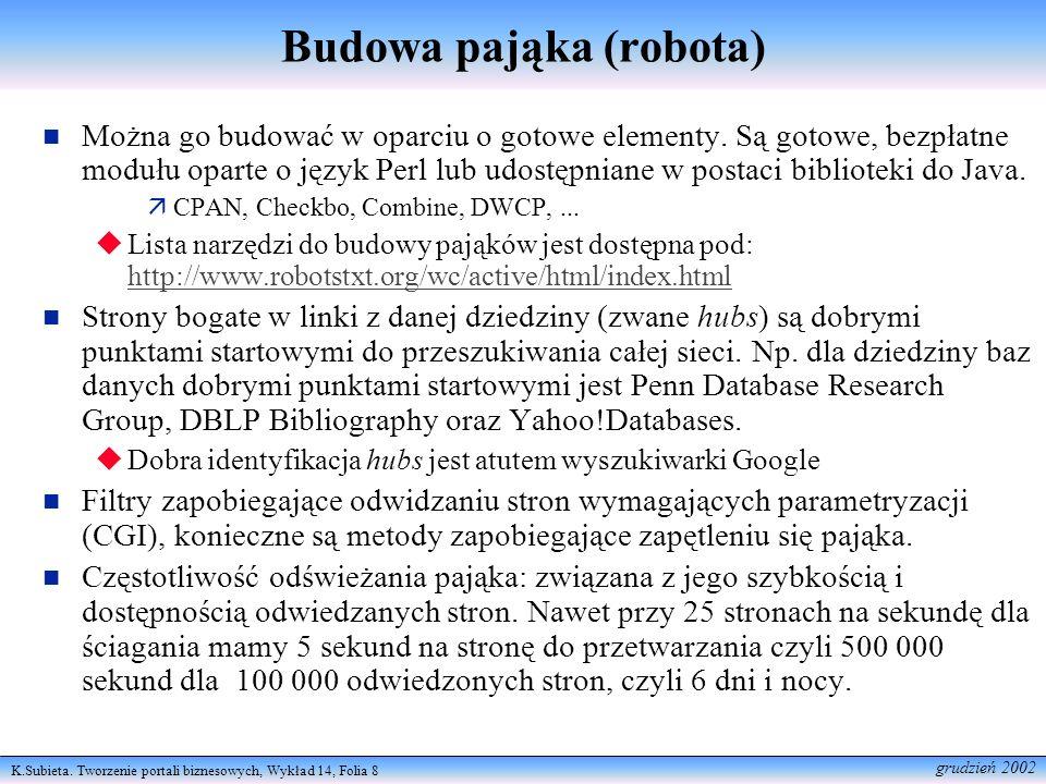 K.Subieta. Tworzenie portali biznesowych, Wykład 14, Folia 8 grudzień 2002 Budowa pająka (robota) Można go budować w oparciu o gotowe elementy. Są got