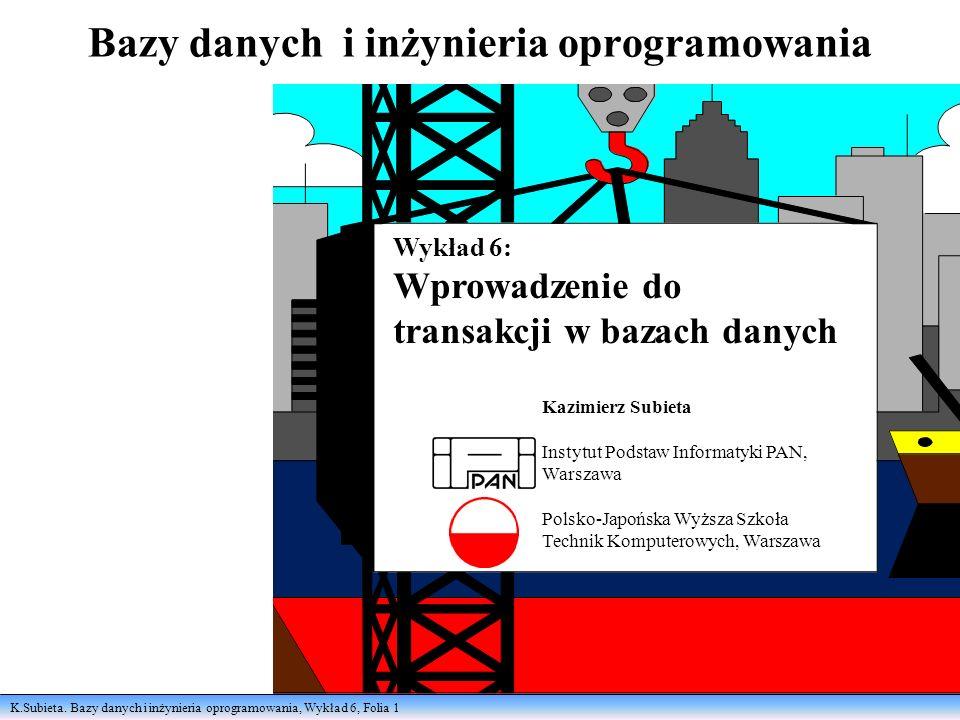 K.Subieta.Bazy danych i inżynieria oprogramowania, Wykład 6, Folia 2 Po co transakcje.