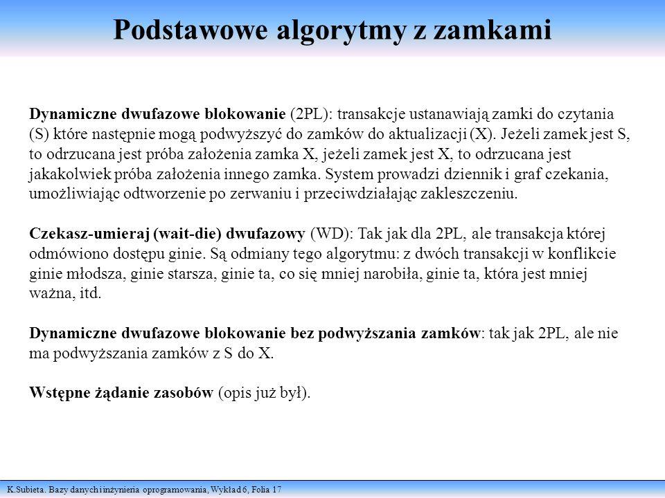 K.Subieta. Bazy danych i inżynieria oprogramowania, Wykład 6, Folia 17 Podstawowe algorytmy z zamkami Dynamiczne dwufazowe blokowanie (2PL): transakcj
