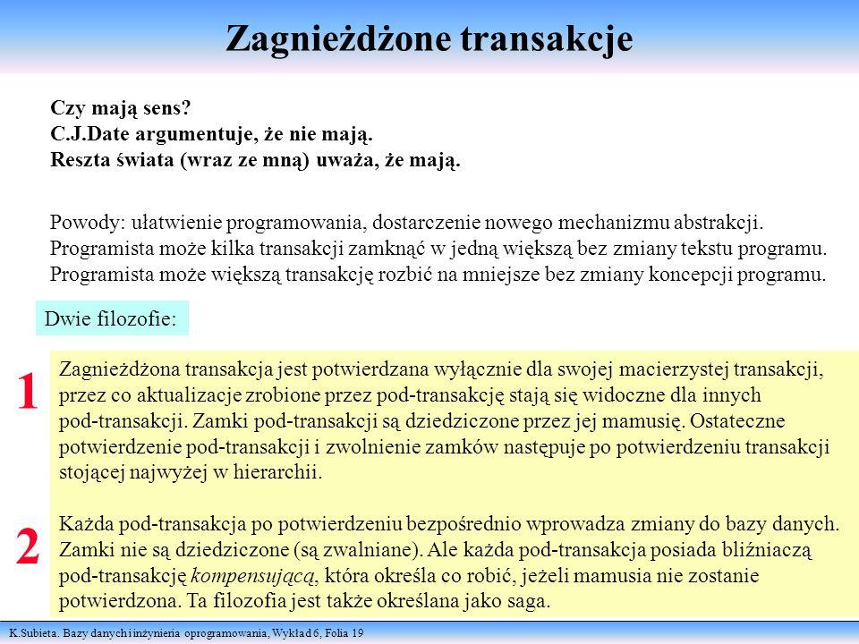 K.Subieta. Bazy danych i inżynieria oprogramowania, Wykład 6, Folia 19 Zagnieżdżone transakcje Czy mają sens? C.J.Date argumentuje, że nie mają. Reszt
