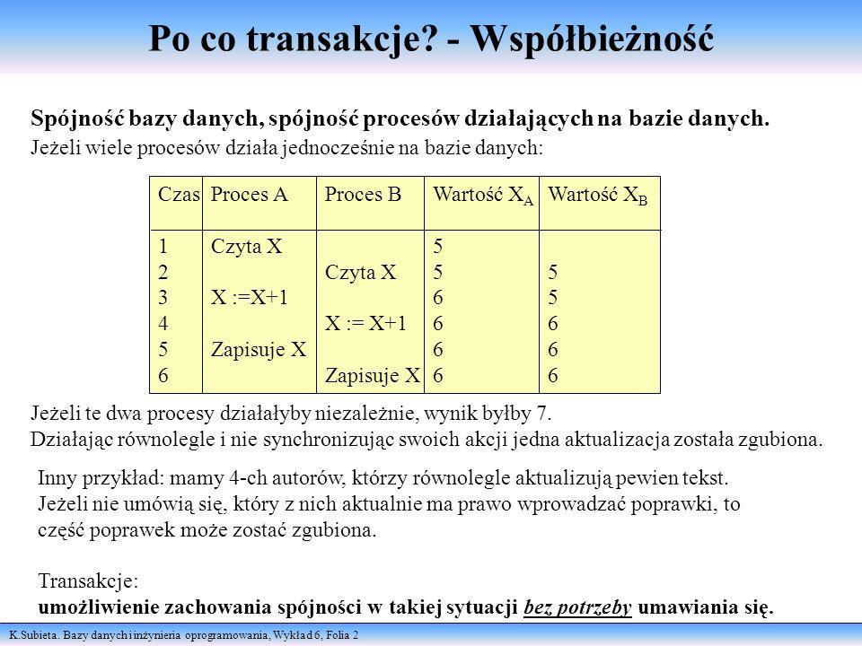 K.Subieta. Bazy danych i inżynieria oprogramowania, Wykład 6, Folia 2 Po co transakcje? - Współbieżność Spójność bazy danych, spójność procesów działa