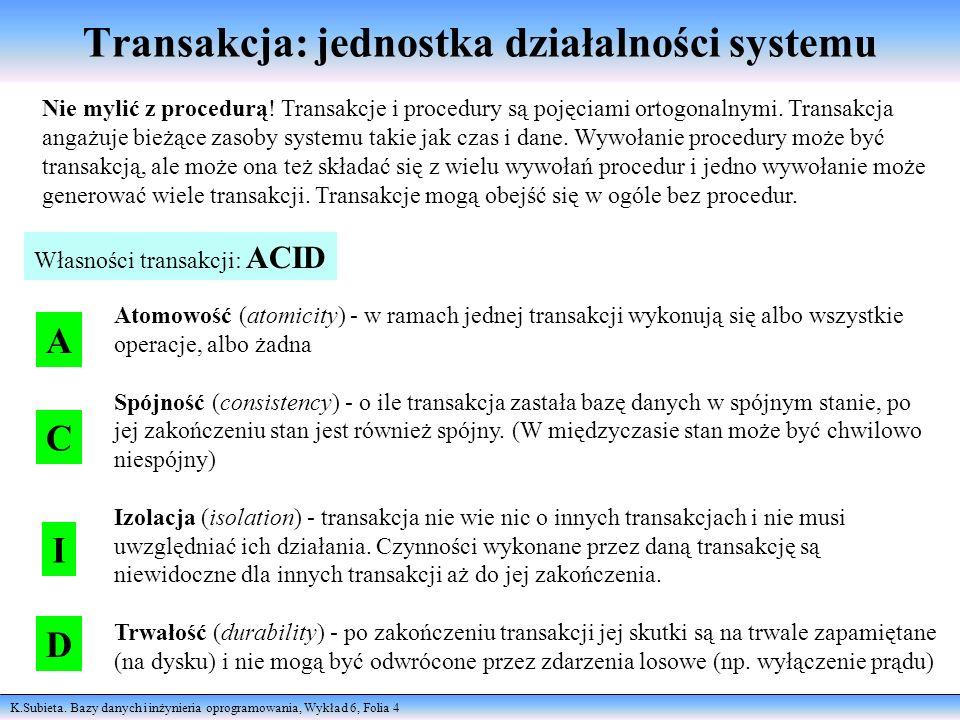 K.Subieta. Bazy danych i inżynieria oprogramowania, Wykład 6, Folia 4 Transakcja: jednostka działalności systemu Nie mylić z procedurą! Transakcje i p