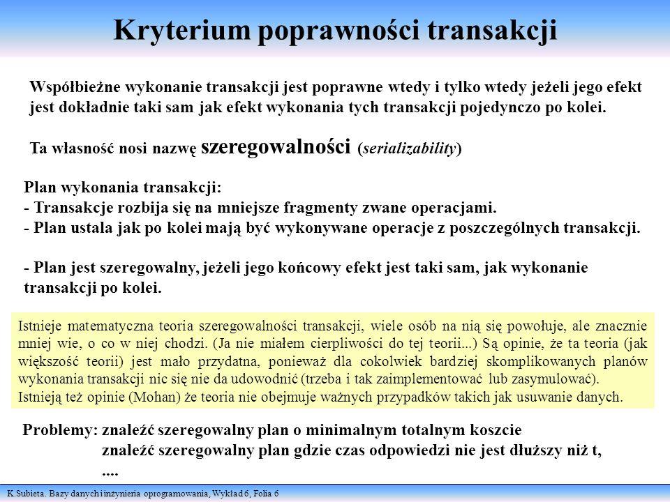 K.Subieta. Bazy danych i inżynieria oprogramowania, Wykład 6, Folia 6 Kryterium poprawności transakcji Współbieżne wykonanie transakcji jest poprawne