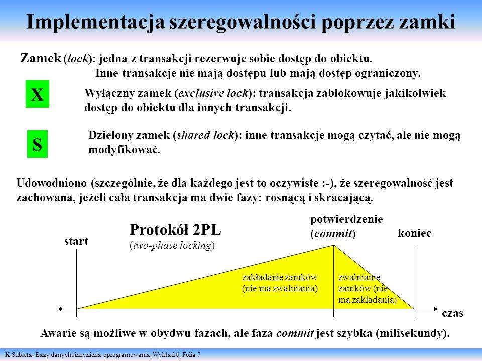 K.Subieta. Bazy danych i inżynieria oprogramowania, Wykład 6, Folia 7 Implementacja szeregowalności poprzez zamki Zamek (lock): jedna z transakcji rez