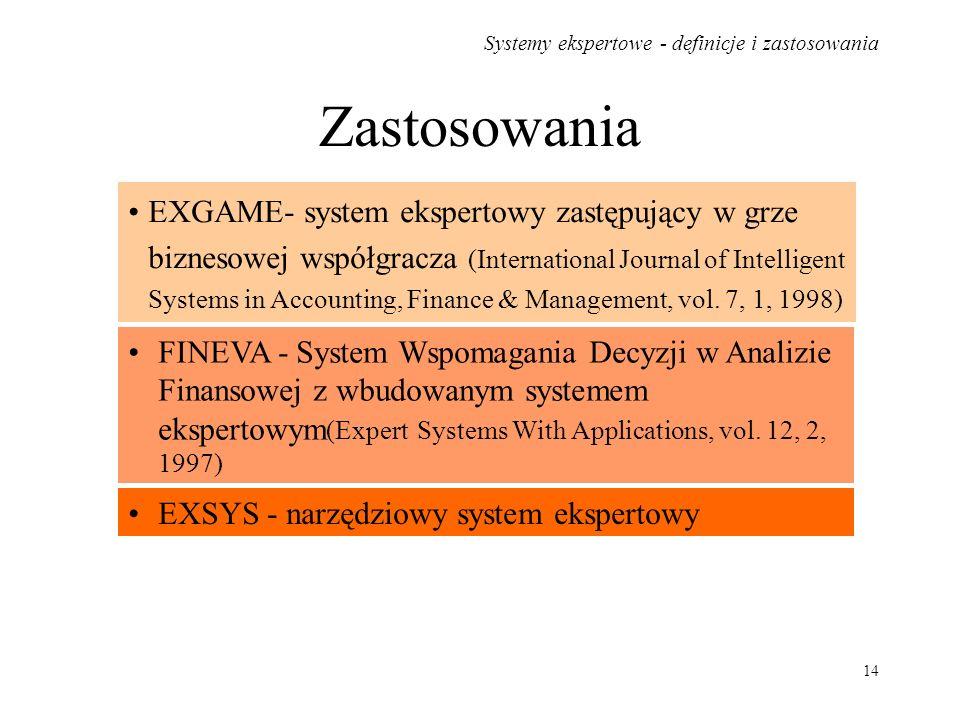 Systemy ekspertowe - definicje i zastosowania 14 Zastosowania EXGAME- system ekspertowy zastępujący w grze biznesowej współgracza (International Journ