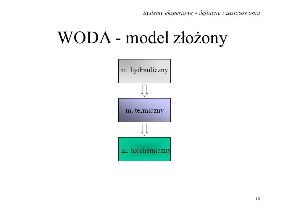Systemy ekspertowe - definicje i zastosowania 18 WODA - model złożony m. hydrauliczny m. termiczny m. biochemiczny
