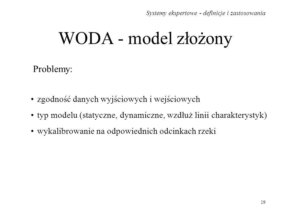Systemy ekspertowe - definicje i zastosowania 19 WODA - model złożony Problemy: zgodność danych wyjściowych i wejściowych typ modelu (statyczne, dynam
