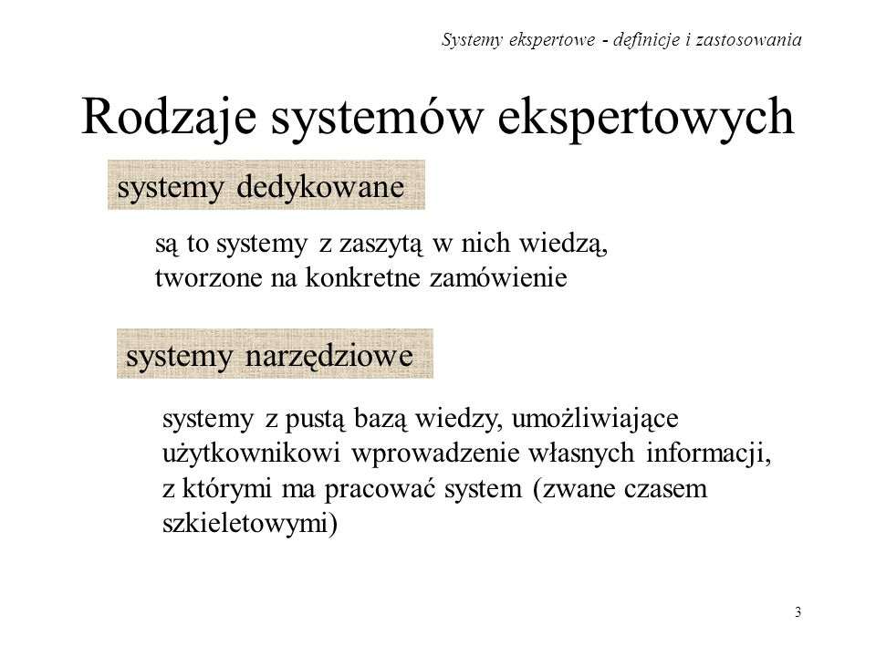 Systemy ekspertowe - definicje i zastosowania 4 Ze względu na metodę prowadzenia procesu wnioskowania systemy ekspertowe dzieli się na: z logiką dwuwartościową (Boolea), z logiką wielowartościową, z logiką rozmytą.