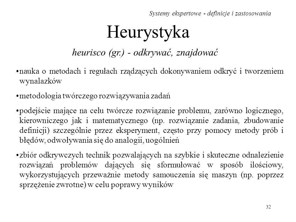 Systemy ekspertowe - definicje i zastosowania 32 Heurystyka heurisco (gr.) - odkrywać, znajdować nauka o metodach i regułach rządzących dokonywaniem o
